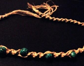 Turquoise beaded hemp necklace.