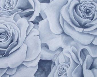 Roses Original Oil Painting Paynes Gray Blueish Grey Monochromatic
