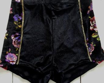 Sale high waisted black  velvet and floral print shorts