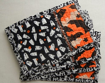 Ghosts & Bats Quilted Mug Rugs