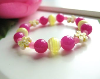 Pink and Yellow Beaded Bracelet with Flowers, Medium Girls Bracelet, GBM 106