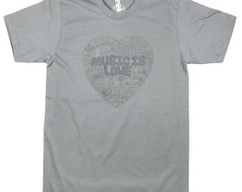 Music Is Love: ORGANIC Cotton American Apparel Mens Tee
