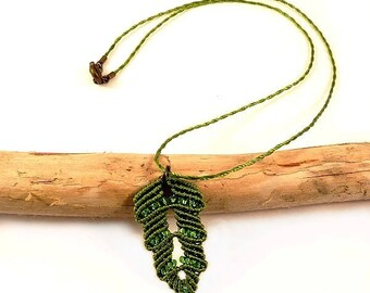 Micro macrame moss green leaf necklace