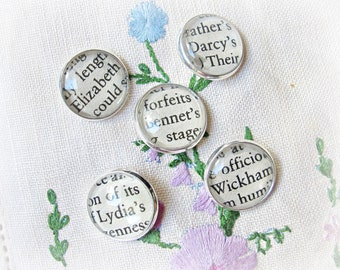 Jane Austen Shank Buttons Craft Supplies - Pride and Prejudice Mr Darcy Bookish Bookworm Gift - DIY Silver Round Handmade Sewing Ephemera