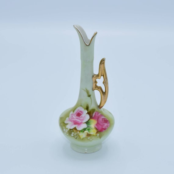 Lefton Floral Pitcher Vintage Pink Roses Gilded Handle Bud Vase Hand Painted Made in Japan Original Foil Sticker No. 748 Mid Century Lefton