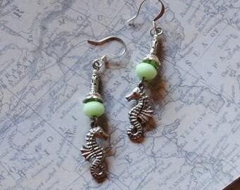 Green seahorse earrings
