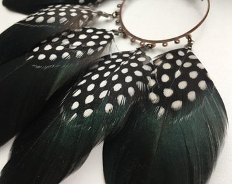 Big Feathers Earrings Boho Style Festival Style Festival Earrings Guinea Earrings Spotted Earrings Handmade Earrings