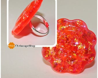 Resin ring ' bright orange flower '
