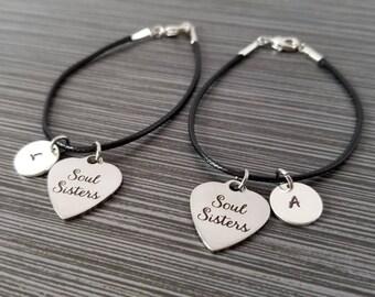 Two Cord Charm Bracelets - Cord Bracelet - Black Bracelet - Soul Sisters Bracelets - Best Friend Gift - Gift for BFF - Best Friend Jewelry