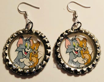 Tom and Jerry Bottle Cap Earrings, tom jerry , tom and jerry cartoon, tom n jerry