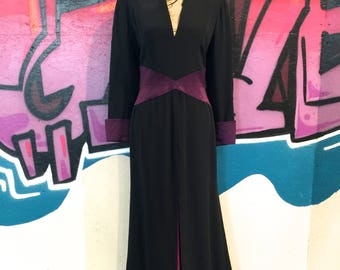 Sully Bonnelly for Saks Fifth Avenue Long Black Evening Gown with Purple Satin Trim