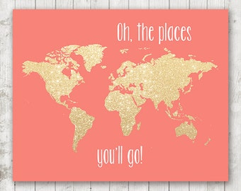 40x30 printable world map diy travel pinboard map oh the places youll go printable 11x14 gold glitter nursery map printable world gumiabroncs Gallery