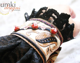SALE Rudhira /// mixed media Lace Cuff by Jhumki Couture - designs by raindrops