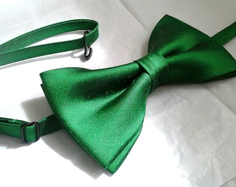 Emerald green silk wedding bowtie special occasion dupioni silk formal bow tie pretied