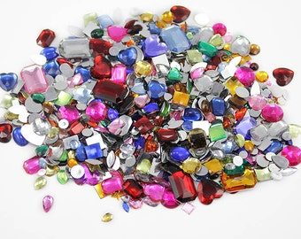 Bulk Loose Gems Rhinestones Jewels Over 1000 Pieces Assorted Colors & Sizes