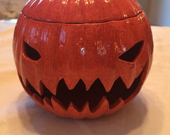 Scary Jack O Lantern/Ceramic Pumpkin/JackOLantern /Halloween/Luminaire/Luminary/Candy Dish / Fall / Thanksgiving / Orange