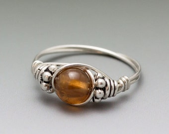 Hessonite Gomed Garnet Bali Sterling Silver Wire Wrapped Ring - Made to Order, Ships Fast!