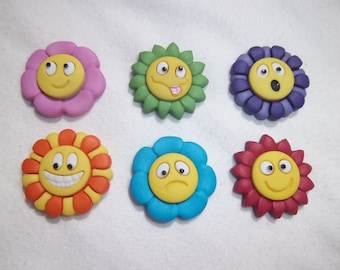 How U Doin? Magnets / Set of Six Magnets / Colorful Magnets / Funny Face Magnets / Flower Magnets / Fridge Magnets / Office Magnets