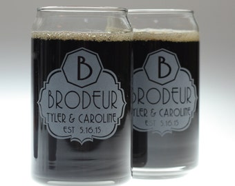 Wedding gift of  beer glass set using fancy label with large initial art on 2 Glasses,wedding gift,newlywed,house warming