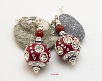 "Plated Silver earrings ""Reeva"" red Jasper and Kashmiri beads"