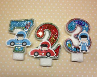 Racecar Birthday Party Number Candle