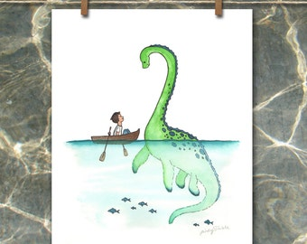 Giclee Print, Loch Ness Monster, Nessie, Sea Monster, Ocean decor, Nursery art, Wall decor, baby room, Art print, Dinosaur, Plesiosaur