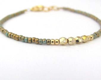 Rustic Turquoise Beaded Bracelet Dainty Minimal Gold Plated Czech Glass Friendship Birthday Gift Summer Spring Back to School