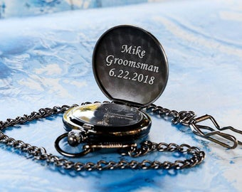 Personalized Groomsmen Pocket Watch Gunmetal Monogrammed Pocket Watch Gift for Men Groom Gift Groomsman Gift Father of the Bride Grooms Gift