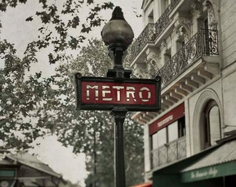 Paris Photography, Red Metro Sign, Neutral, Green, Beige, Rustic, Architecture, Office Decor, Paris Print