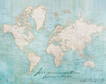 world travel map traveller gifts wanderlust travel quote world map engagement gifts map art print couples gift wedding print