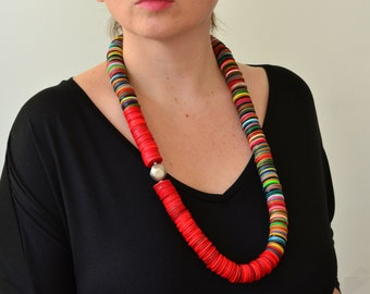 Red necklace, long red necklace, ethnic necklace, red gift for her, coral necklace, unique necklace, long statement necklace, boho necklace