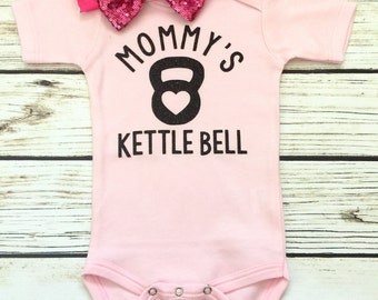 Mommy's Kettle Bell Baby Girl Bodysuit In Pink and Black