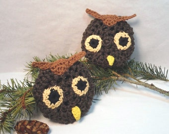 Scrubbers. Scrubbie, owls, scour pad, cleaning aid, brown, scrubbie, home, kitchen,bath, durable, eco-friendly. 2pk Owls Pot Scrubbers.