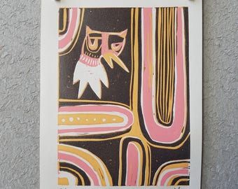 lino print, reduction lino print, limited edition lino print, art, quack, abstract art, cute character, cute illustration, pink, yellow,
