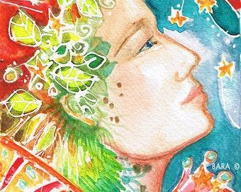 """Art Print  """"Celestial Goddess""""  Art Print of original watercolor"""