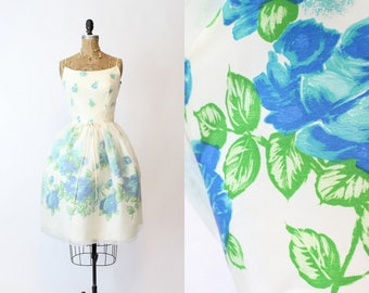 1950s Dress Blue Roses XS / 1950s Vintage Dress Party Organza / Climbing Roses Dress