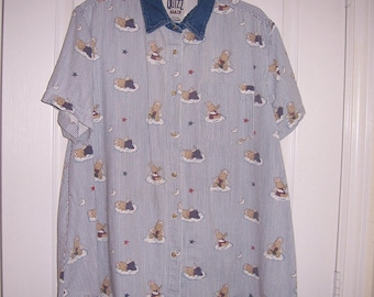 Vintage, Maternity Denim Blouse, Angel Bears on Clouds Pattern, Size XL, by Nanas Vintage Shop