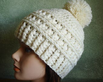 Warm Winter Sports Wool Pom Pom Beanie in Adult Large Size- Ready to Ship!