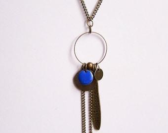 Necklace cobalt blue enameled sequin