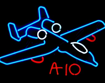 A-10 Warthog Jet Airplane Military Neon Art Wall Hanging Sculpture