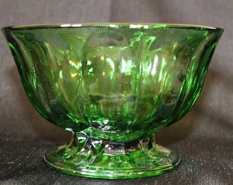 Anchor Hocking Fairfield Green Footed Candy Bowl