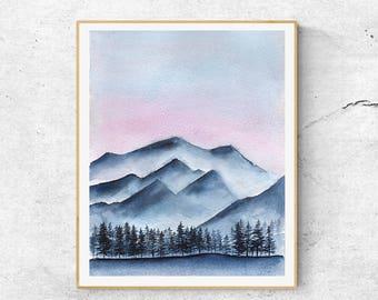 Blue Mountains Print, Blue Watercolor Mountain Print, Watercolor Mountain Art, Watercolor Landscape, Abstract Mountain Art, Modern Wall Art