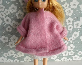 HANDMADE DOLL COAT in softest pink cashmere with matching beret for Lottie, Skinny Ginny, Riley Kish and all slender 7-8in/17-20cm dolls