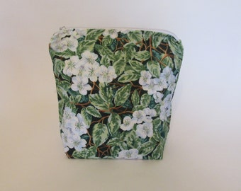 Handmade Zippered Pouch 100% cotton fabric, white & green floral, washable, use for travel, chargers, first aid, medications, jewelry, etc