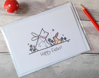 Easter bunny card, Happy Easter rabbit card, Westie card, Easter Sunday celebration card, cute Spring card, card for family, friend card