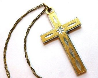 DIAMOND CUT Gold & Silver Cross, Vintage Twotone Lightweight Cross, Silver and Goldtone Cross with Triple Strand Neck Chain, Cross Necklace