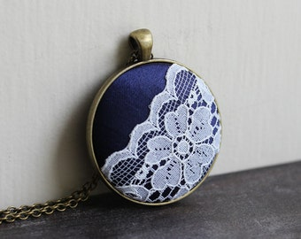 Navy Blue Necklace With Lace, Navy Wedding Lace Jewelry, Navy Bridesmaid Necklace, Flower Pendant, Boho Necklace