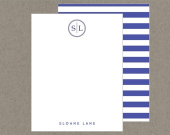 Set 20 Modern Circle Monogram Flat Note Cards with Envelopes - Preppy Navy Blue Stripes - Social Stationery