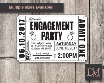 Engagement Party Ticket Invitation (Printable)