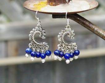 Lapis Lazuli Tibetan Silver Leaves  Chandelier Earrings   ~ Hippie Style  ~ Boho Blue ~ Semi Precious Stones ~ Nature Lover Gift